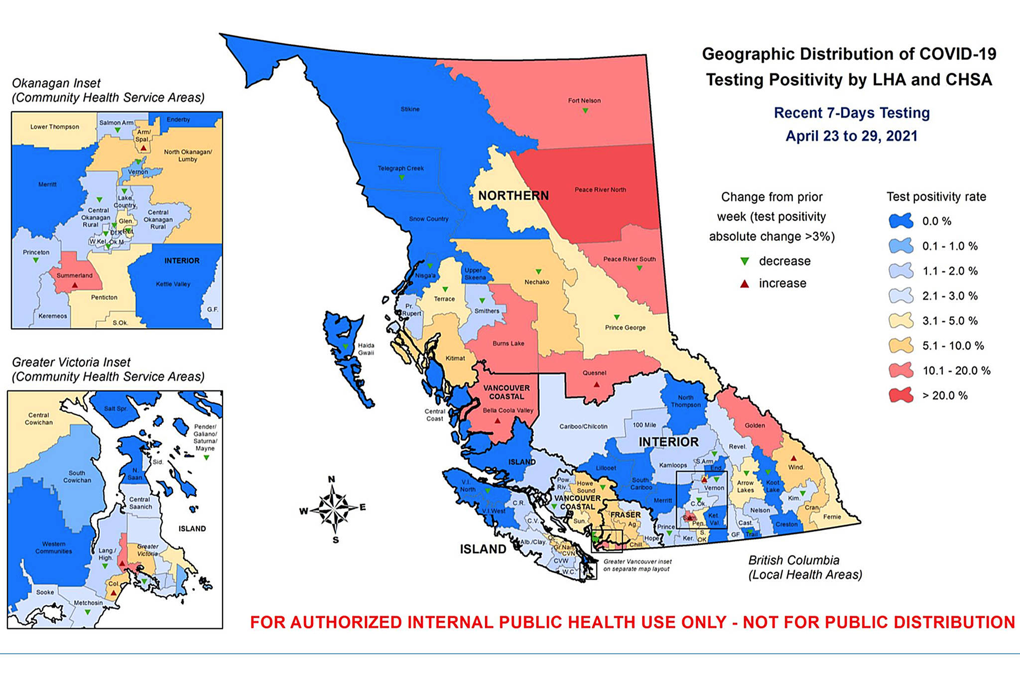 Summerland's positive test rate is much higher than surrounding local health areas, according to internal BC CDC documents. (BC CDC)