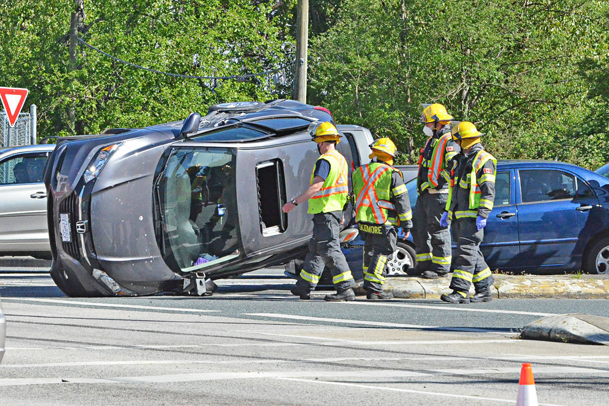 Three vehicles were involved in a crash on the afternoon of Friday, May 7, 2021, at the intersection of Fraser Highway and 208th Street. (Heather Colpitts/Langley Advance Times)