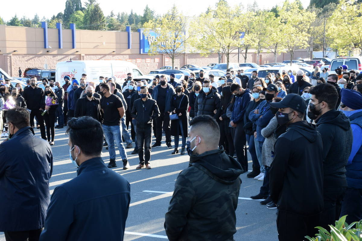 Hundreds gathered for a candlelight vigil Friday evening (May 7) to remember 29-year-old corrections officer Bikramdeep Randhawa, who was killed in last weekend's brazen daylight shooting outside North Delta's Scottsdale Centre mall. (James Smith photo)