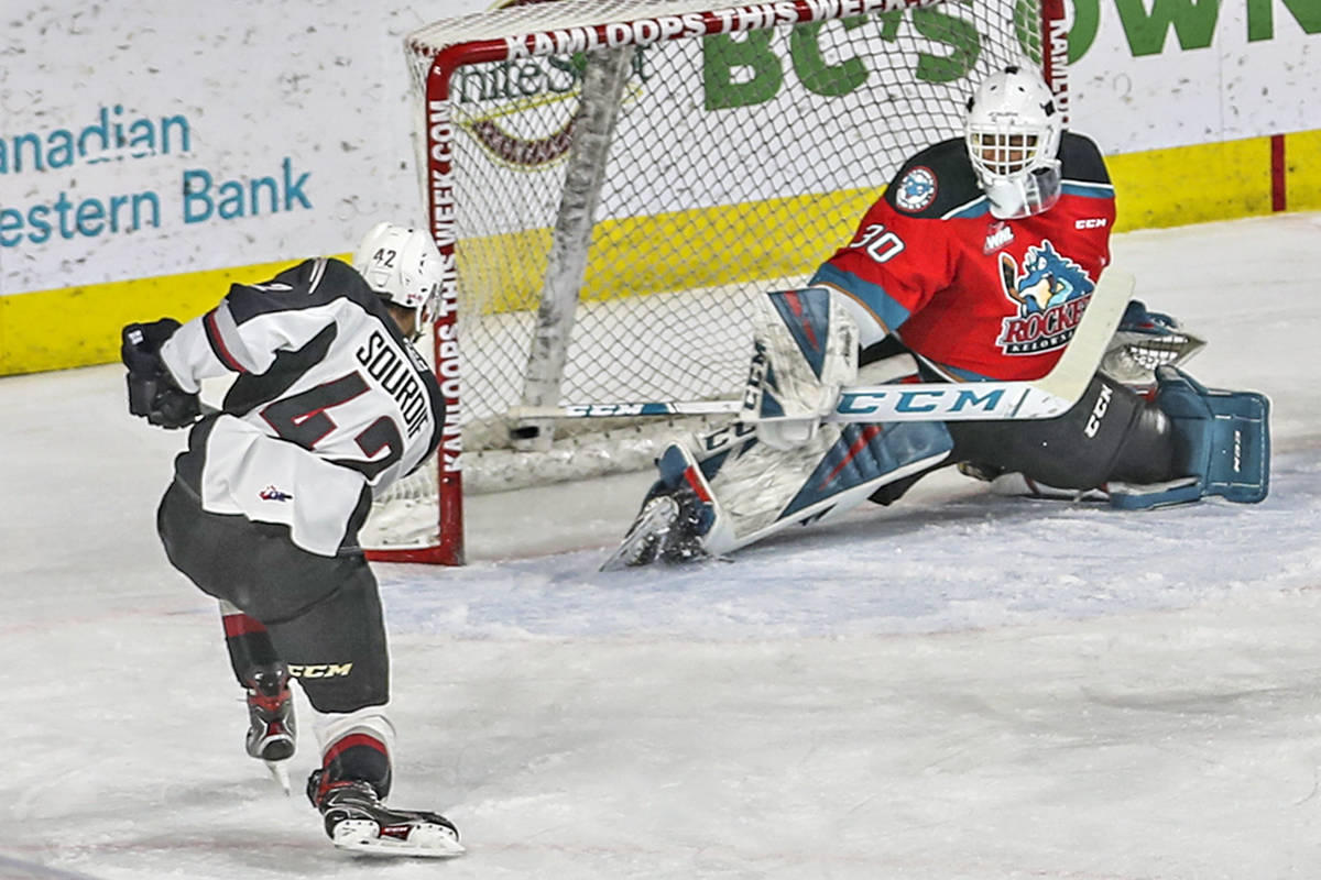 On a five-on-four power play, Justin Sourdif converted off a tic-tac-toe passing sequence that also involved Nielsen and Ostapchuk.Vancouver Giants earned a 6-2 victory over the visiting Kelowna Rockets Friday night, May 7, in Kamloops (Allen Douglas/special to Langley Advance Times)