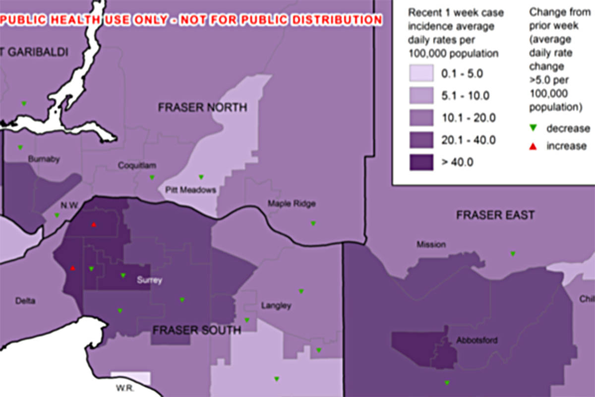 A map showing where the most number of cases were recorded from April 23 to 29. This map, revealing a breakdown of infections by neighborhood, was pulled from a data package leaked to the Vancouver Sun last week (and independently verified).