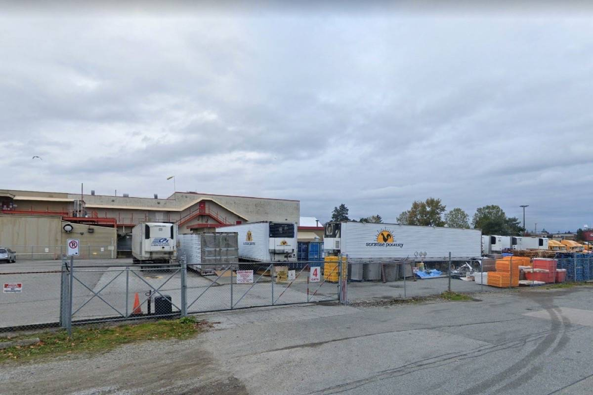Twenty-nine staff members at Sunrise Poultry Processors Ltd. in Newton have tested positive for the virus, according to an information bulletin from Fraser Health Saturday (May 8). The health authority issued a 10-day closure order, effective May 7. (Image: Google Maps)