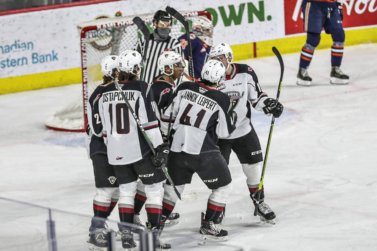 Vancouver Giants celebrated a Justin Sourdif goal Saturday night in Kamloops. Giants dropped a 3-1 decision to Kamloops, a game that clinched the 2020-21 B.C. Division banner for the Blazers. (Allen Douglas/special to Langley Advance Times)