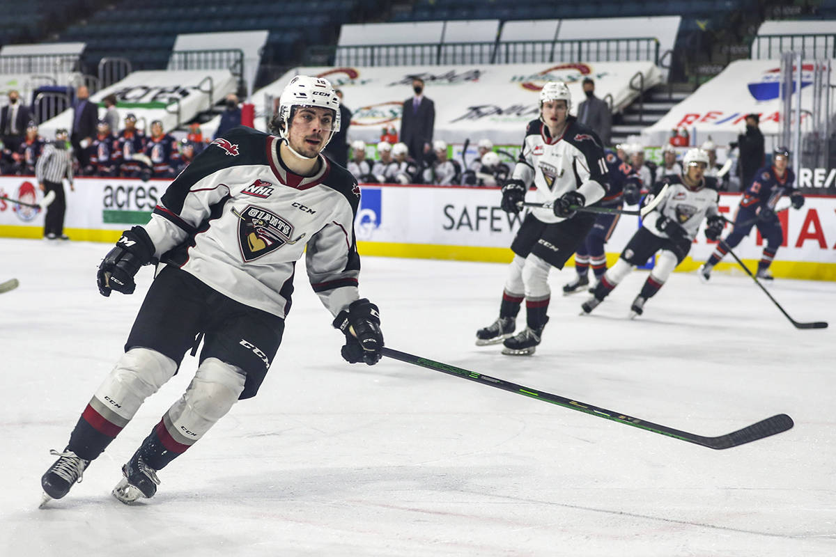 Saturday night in Kamloops, Vancouver Giants dropped a 3-1 decision to Kamloops, a game that clinched the 2020-21 B.C. Division banner for the Blazers. (Allen Douglas/special to Langley Advance Times)