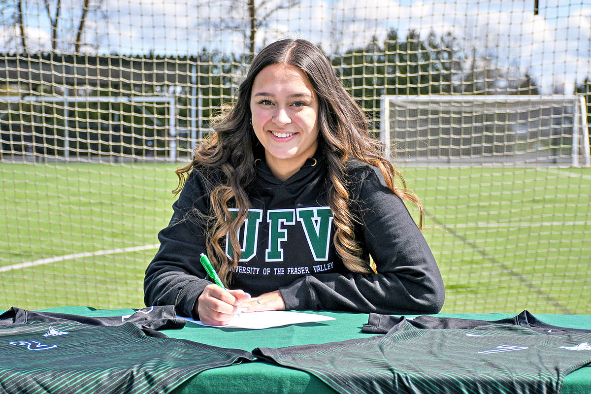 "Langley's Madison Sweeney a 5'8"" forward who began her career playing for Walnut Grove Secondary, has signed with the University of the Fraser Valley (UFV) Cascades women's soccer team. (Special to Langley Advance Times)"
