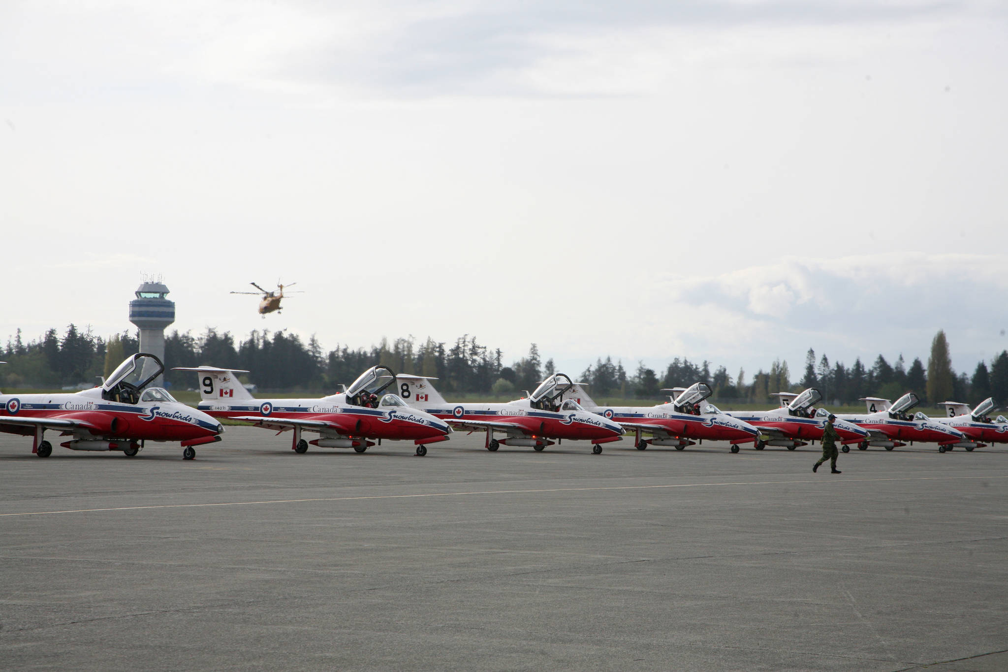 The Canadian Forces Snowbirds are in the Comox Valley for their annual spring training. Photo by Erin Haluschak