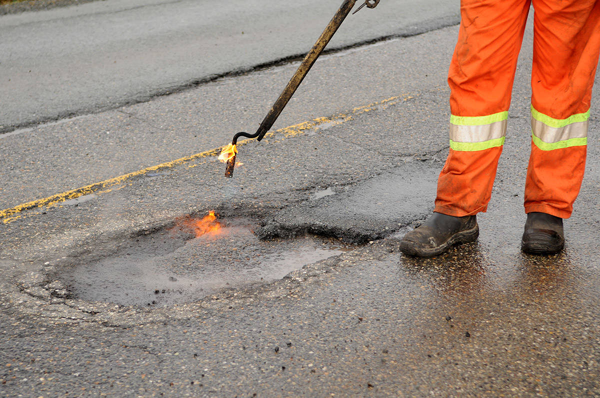 Spring is when many municipalities start doing pothole repairs. (Black Press Media files)