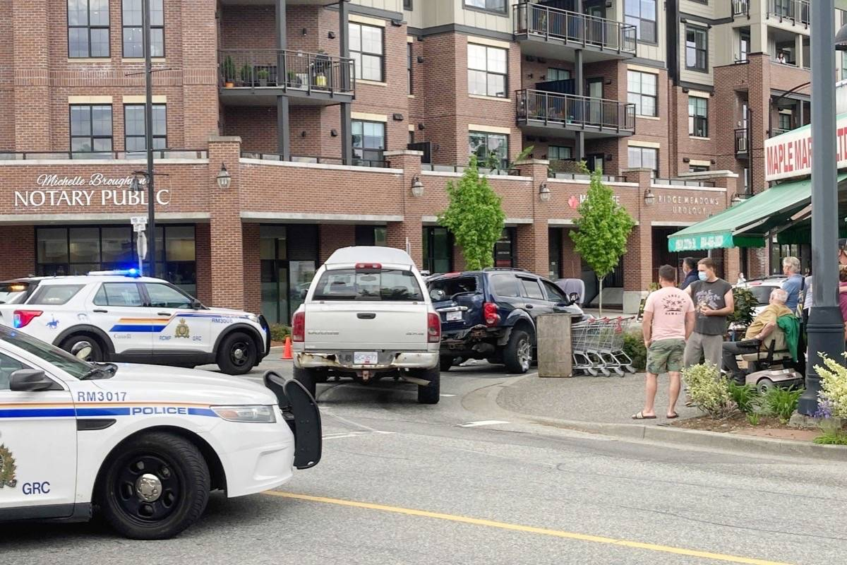 Police have southbound lanes blocked along 227 Street at Dewdney Trunk Road. (Ronan O'Doherty/The News)