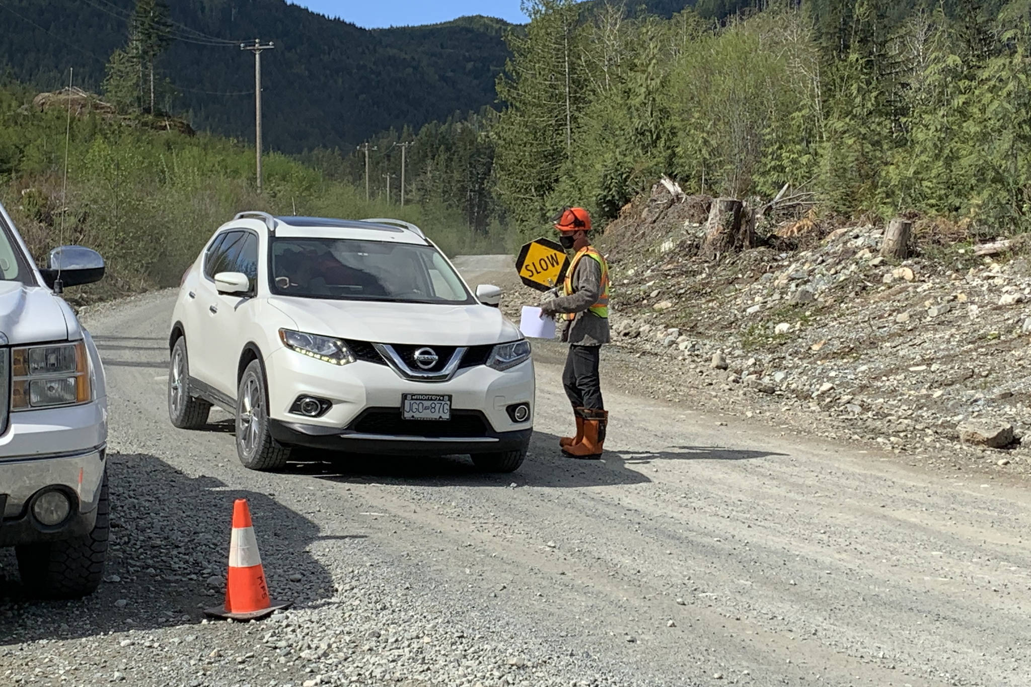 Members of Huu-ay-aht First Nations conducted two checkpoints on Monday, May 10, asking people who enter the territory to respect the sacred principles and to act accordingly while on Huu-ay-aht land. (SUBMITTED PHOTO)