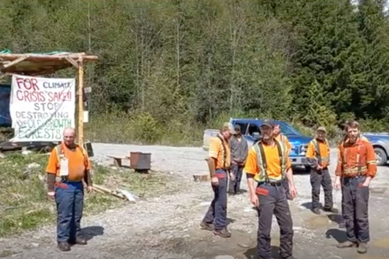 A clash between forestry contractors and protestors was captured on video in Huu-ay-aht First Nations territory in early May 2021. (SCREENSHOT)