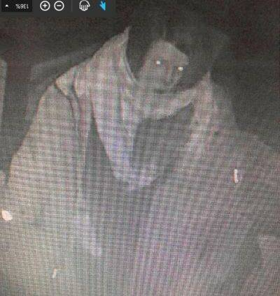 Langley RCMP say this woman was seen in a surveillance video on March 31, 2021 walking between two homes in the 8500-block of 205B Street minutes before a fire that saw one of the homes destroyed and the other sustain significant damage. (Langley RCMP)