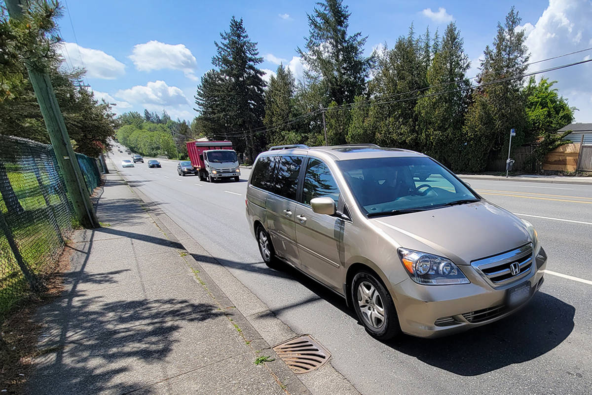 While most drivers along the stretch of 200th Street near Nicomekl Elementary School in Langley City follow the posted speed limits, a significant number is ignoring the posted limits, data from speed reader boards shows. (Dan Ferguson/Langley Advance Times)
