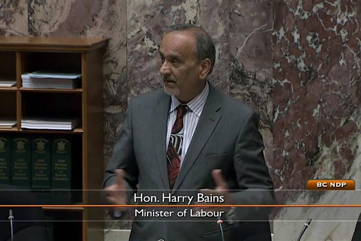 B.C. Labour Minister Harry Bains in the B.C. legislature, May 13, 2019. (Hansard TV)
