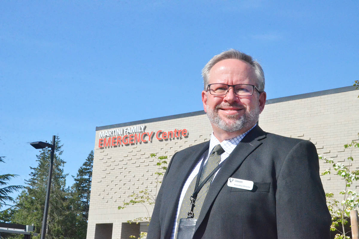 Jason Cook, the executive director of the Langley Memorial Hospital, at the new ER entrance. (Matthew Claxton/Langley Advance Times)