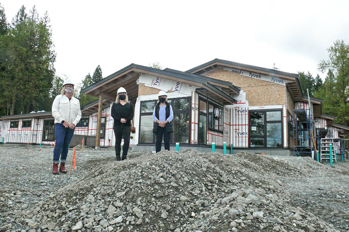 Shannon Todd Booth, Carissa Halley and Kathy Derksen paid the new Langley Hospice a visit in late April. (Dan Ferguson/Langley Advance Times)