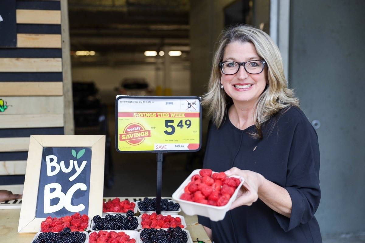 B.C. Agriculture Minister Lana Popham promotes the government's BuyBC food program in 2019. (B.C. government)