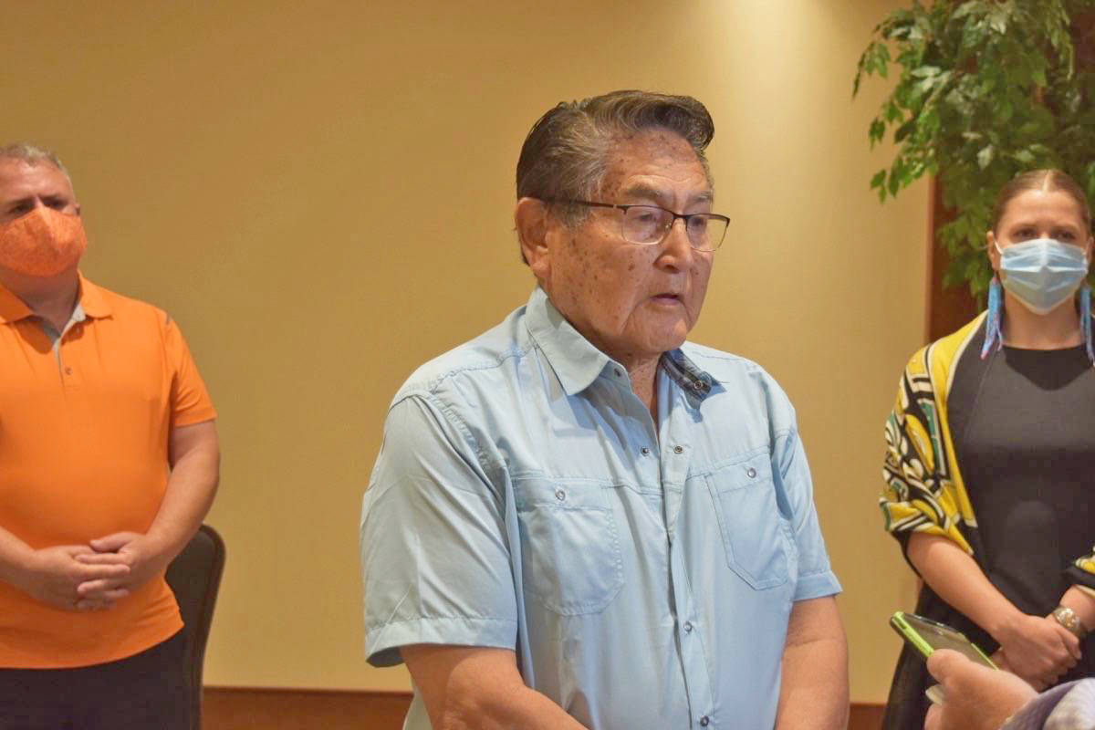 Tla-o-qui-aht First Nation elected chief councillor Moses Martin, who was also Chantel Moore's grandfather, speaks to media in Port Alberni on Aug. 16, 2020, during a visit from NDP leader Jagmeet Singh following the police shooting of Chantel Moore. (Elena Rardon photo)