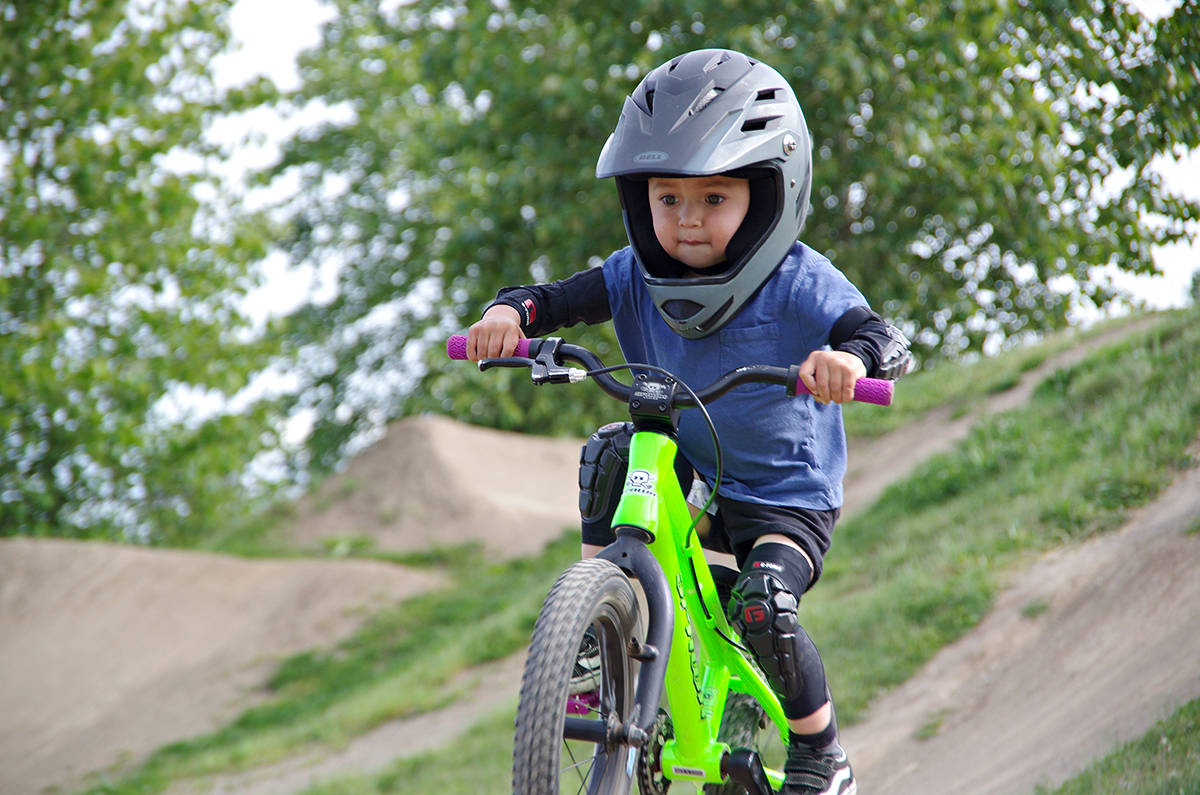Two-year-old Kashius Weme rides at the Steve Smith Memorial Bike Park in Nanaimo on Tuesday, May 11. The youngster's precocious bike-riding ability is already attracting cycle sponsors. (Chris Bush/News Bulletin)