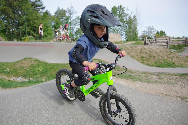 Two-year-old Kashius Weme rides at the Marie Davidson BMX Park in Nanaimo on Tuesday, May 11. (Chris Bush/News Bulletin)
