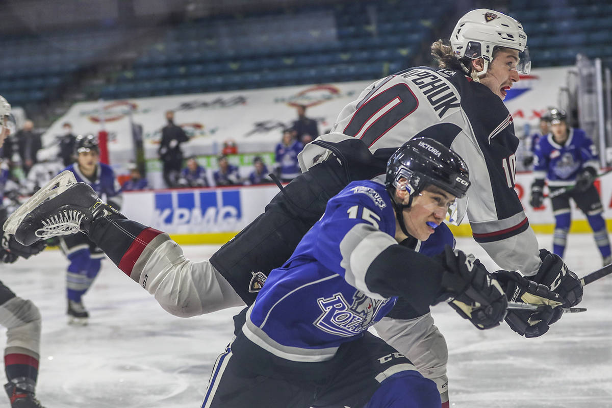 Vancouver Giants ended their season in style, with 6-1 victory over Victoria Tuesday night, May 11. Zack Ostapchuk went airborne, scoring off a shorthanded two-on-one rush to give the Giants their first of six goals (Allen Douglas/special to Langley Advance Times)