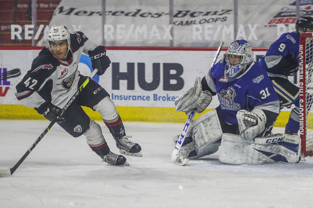 Vancouver Giants ended their season in style, with 6-1 victory over Victoria Tuesday night, May 11. Justin Sourdif extended the Giants lead to 3-1 at the 15:07 mark of the middle frame. (Allen Douglas/special to Langley Advance Times)