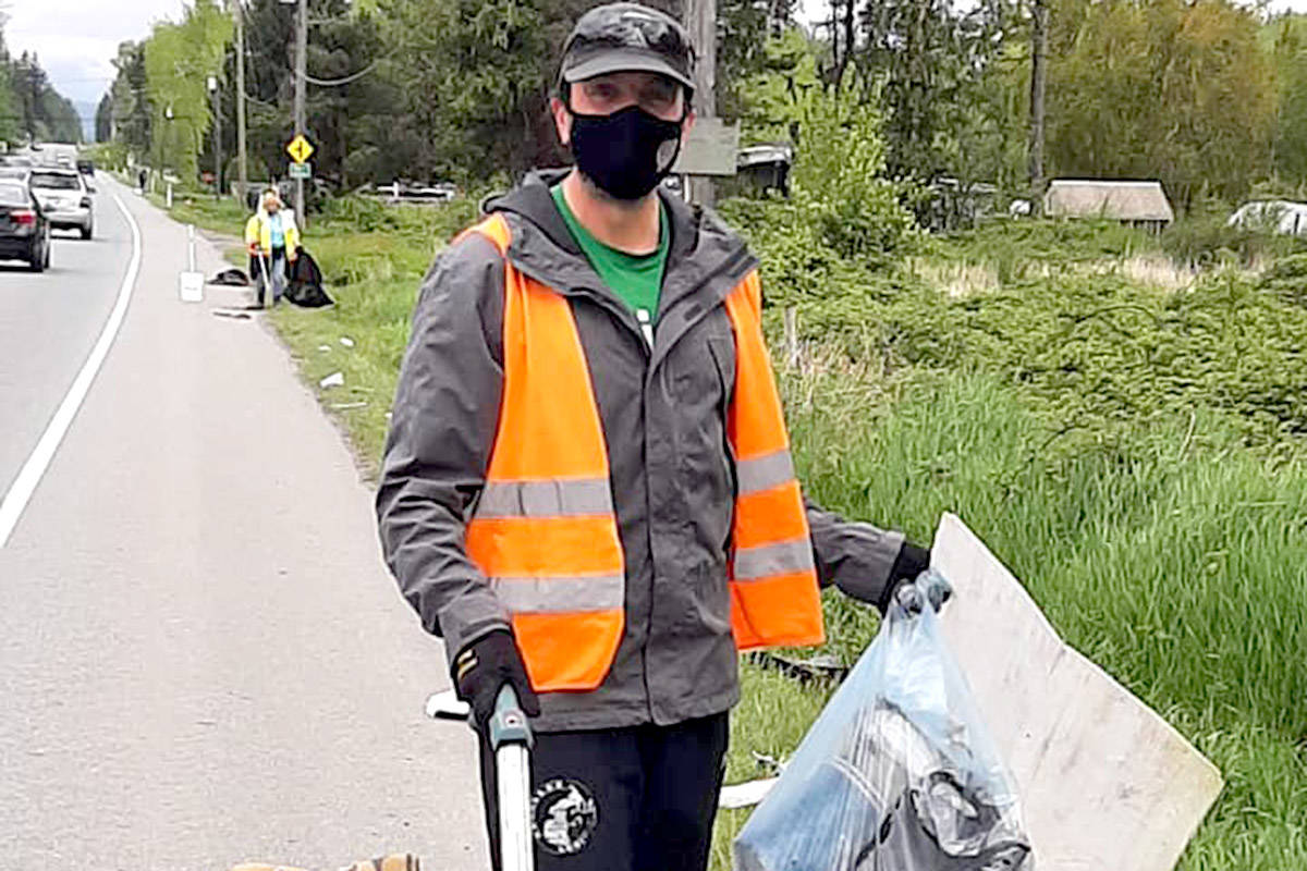 An Earth Ninja volunteer found an upright vacuum cleaner on one of their picks along Aldergrove roads last week. (Special to The Star)