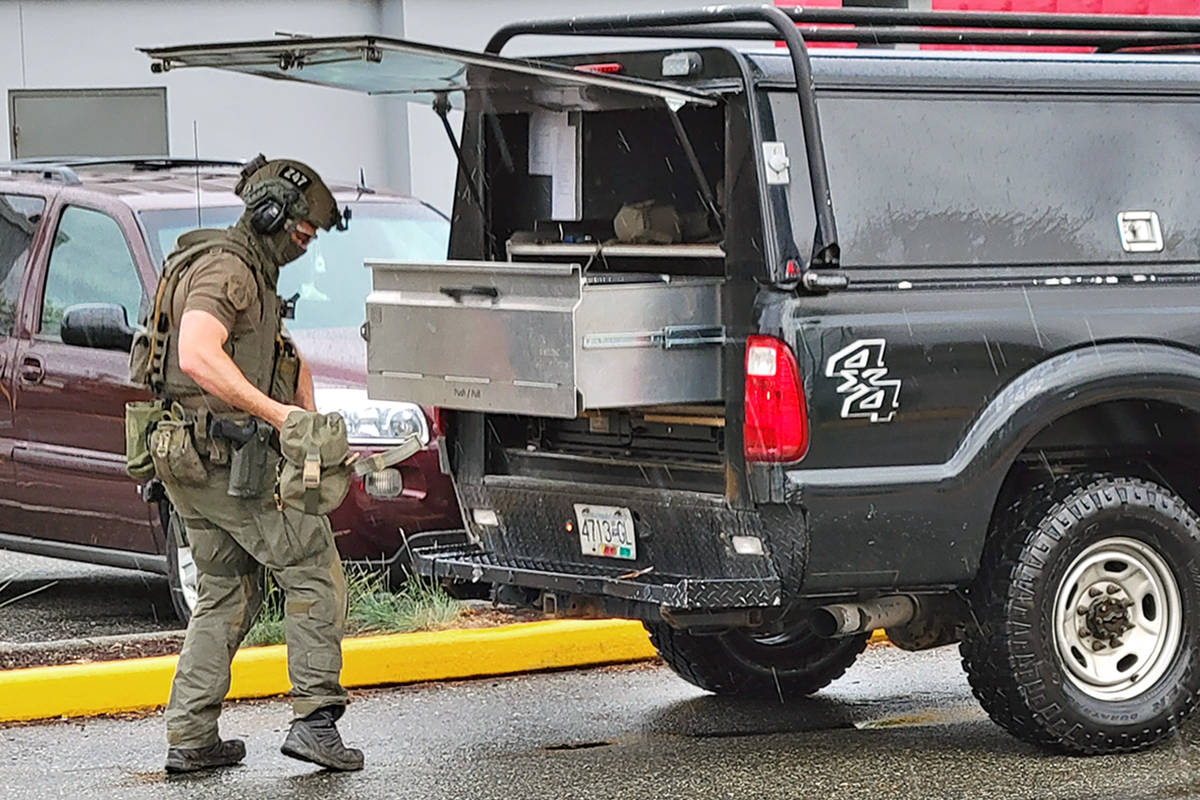 Police swarmed to the area of 203rd Street near Fraser Highway. (Dan Ferguson/Langley Advance Times)