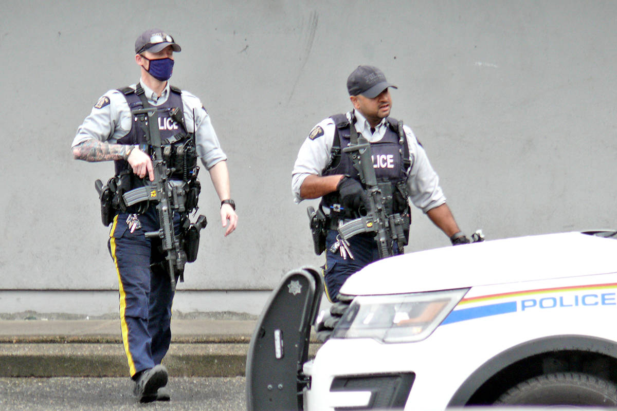 Heavily armed police officers responded to a call on 203rd Street near Fraser Highway. (Dan Ferguson/Langley Advance Times)