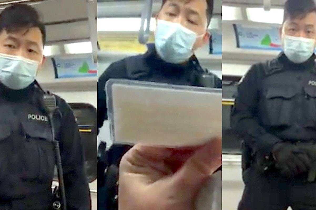 Transit Police Const. Peter Kwok was filmed in December during an encounter on the Canada Line when a woman refused to wear a mask. (Screen grab)