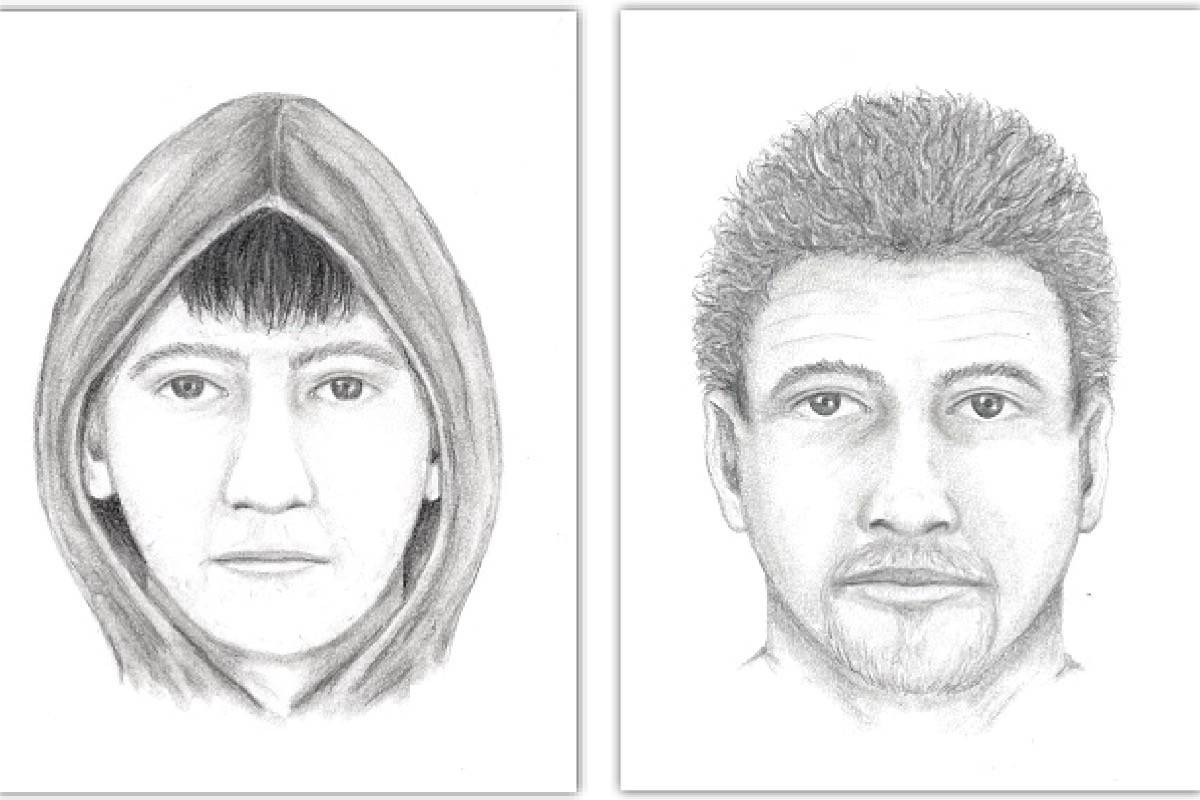 "Surrey RCMP is releasing sketches of a suspect in an ""indecent act"" at the Coyote Creek Elementary playground on April 30, 2021. Police said the suspect was clean-shaven ""during some interactions"" and on ""other occasions had stubble outlining a goatee and mustache."" (Images: Surrey RCMP handout)"