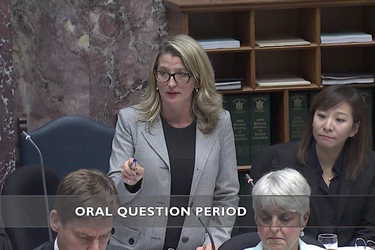 B.C. Agriculture Minister Lana Popham takes questions in the B.C. legislature in 2017. (Hansard TV)