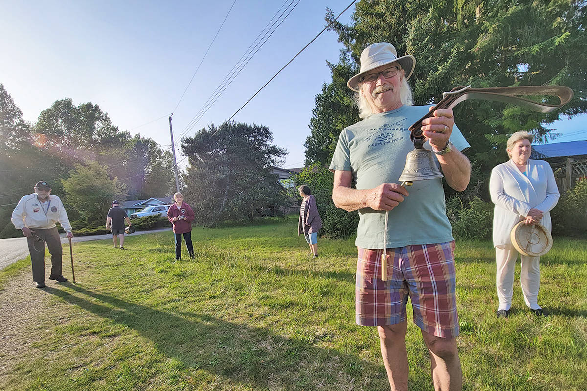 A small group of Brookswood neighbours have been getting together every night of the last 14 months to make some noise in support of health care workers. (Dan Ferguson/Langley Advance Times)