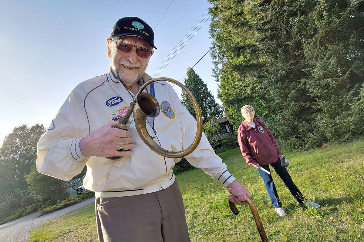 Every night for 14 months, René Doyharcabal, his wife Judy and some of their neighbours in Langley's Brookswood, have been getting together at 7 p.m. to make some noise in support of health care workers. (Dan Ferguson/Langley Advance Times)