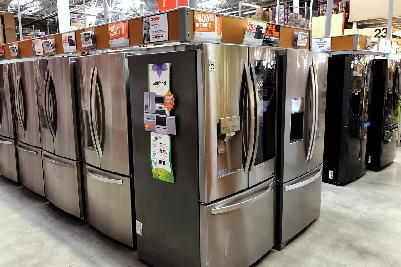 Refrigerators are shown for sale at a Home Depot store in Miami Lakes, Fla., on April 23, 2019. THE CANADIAN PRESS/AP, Wilfredo Lee