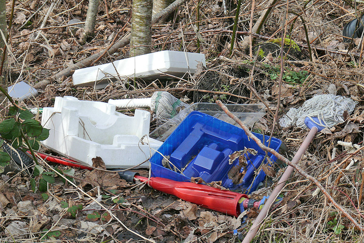 A vacant lot in Willoughby Heights on 198A Street near 72nd Avenue was full of discarded trash on Saturday, Feb. 27, 2021. (Dan Ferguson/Langley Advance Times)
