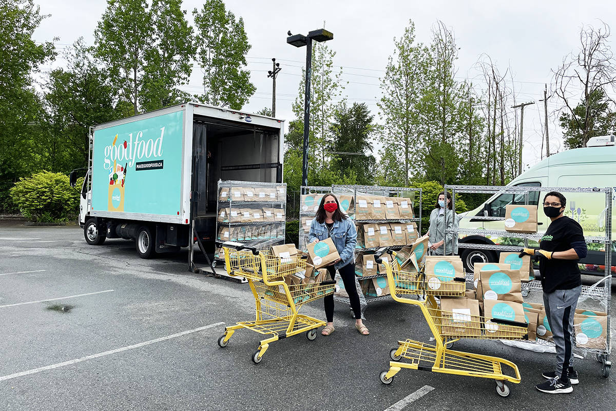 Volunteers unload 1,000 meal kits at the Cloverdale Community Kitchen May 12. CCK was gifted the meals from Goodfood and distributed the entire truckload to the needy in less than 24 hours. (Photo: Submitted)