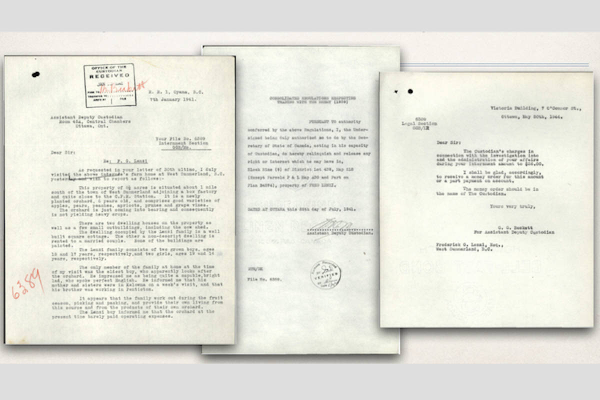 "Federico ""Fred"" Lenzi's internment documents. (Kelowna Canadian-Italian Club/Contributed)"