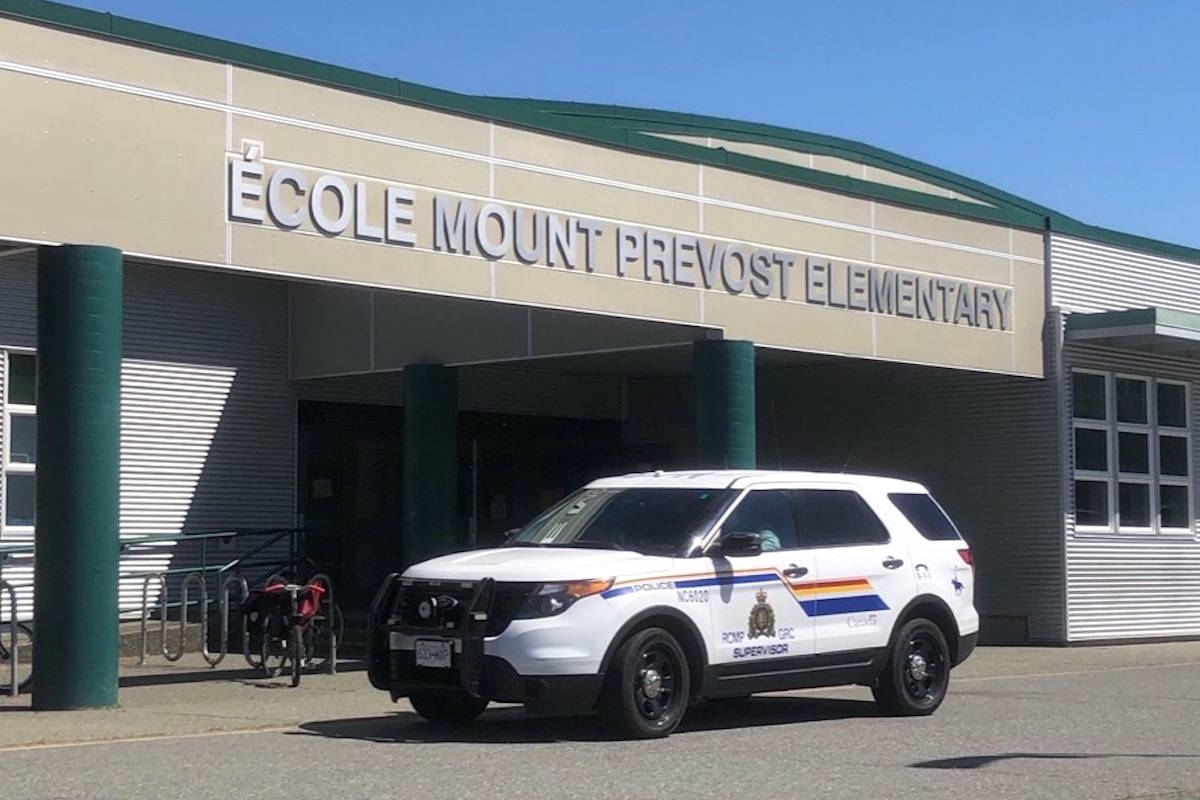 Police are at Ecole Mount Prevost Elementary but the students have been evacuated. (Kevin Rothbauer/Citizen)