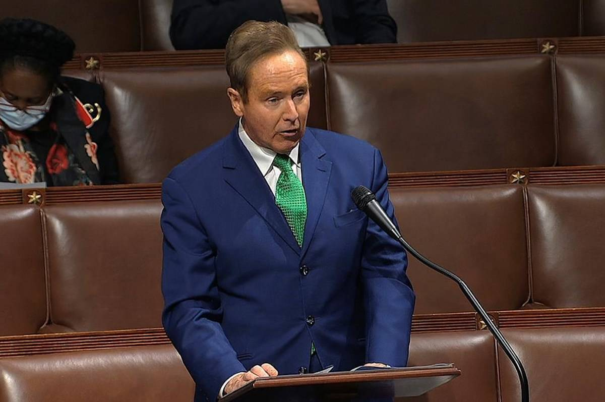 Rep. Brian Higgins, D-N.Y., speaks on the floor of the House of Representatives at the U.S. Capitol in Washington. THE CANADIAN PRESS/AP-House Television