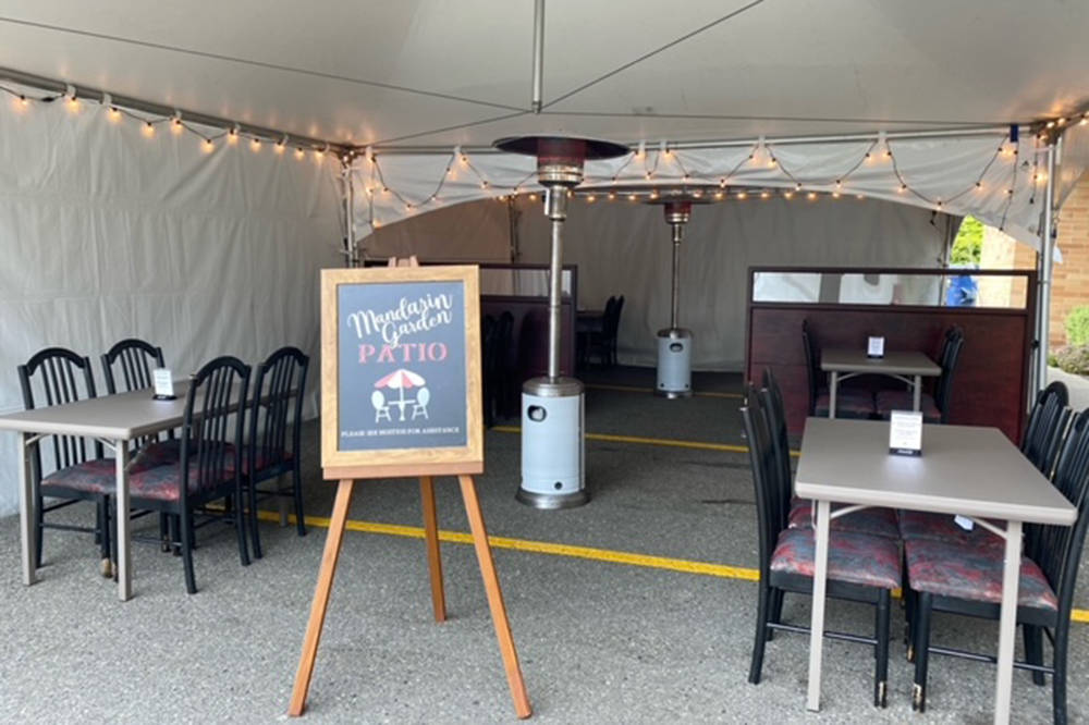Mandarin Garden in Abbotsford had two event tents set up for outdoor dining. One of the tents, valued at more than $5,000, was stolen early Friday morning (May 14). (Submitted photo)