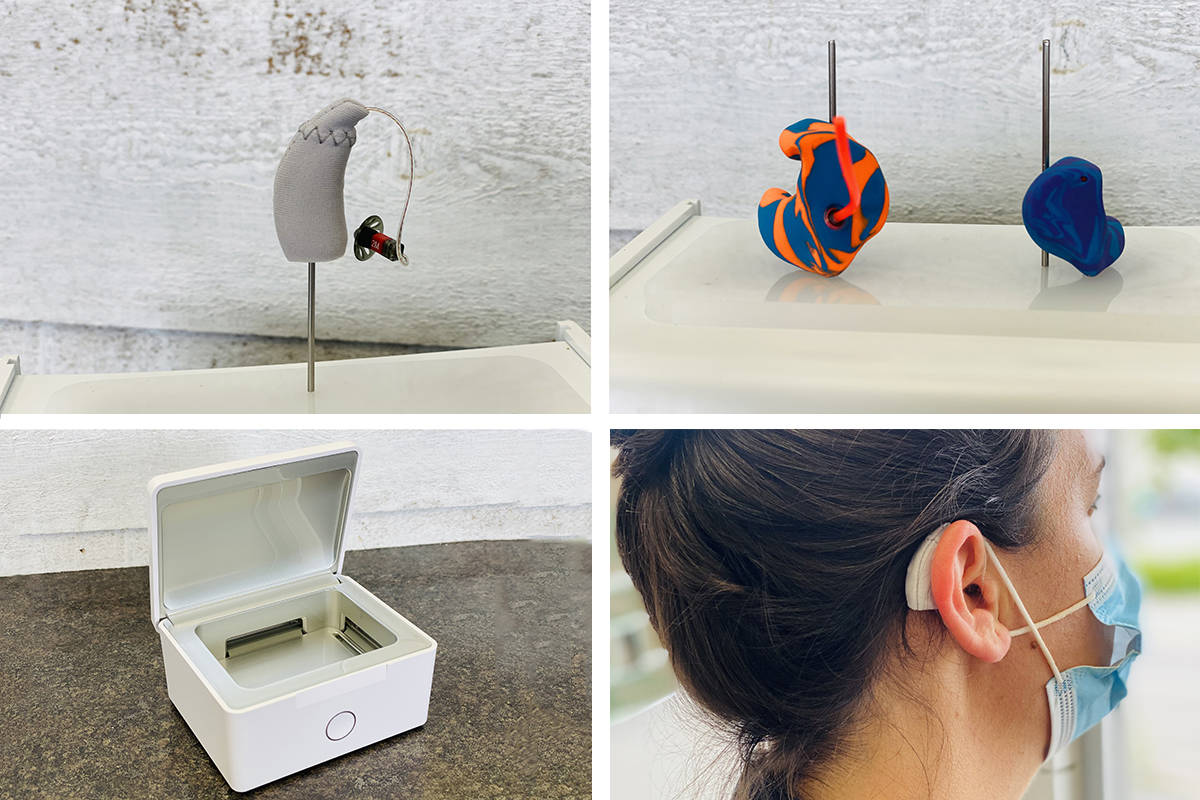 Ears Hearing accessories for better sound this summer! Clockwise from top left: a fabric sleeve protects your hearing aid; custom ear plugs for sleeping, swimming, or mowing the lawn; yes, hearing aids can work with masks; store hearing aids in a dehumidifying case.