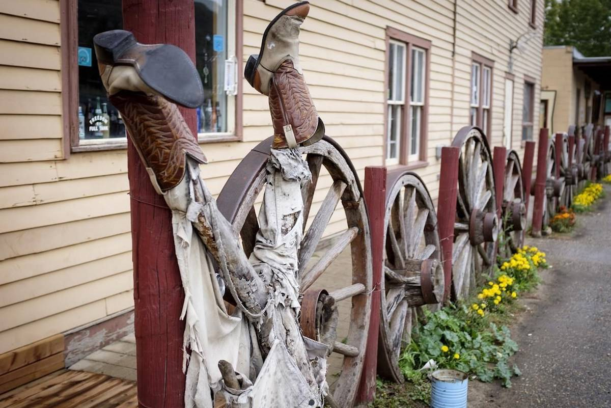 Welcoming cowboy boots at the historic and colourful Last Chance Saloon in the ghost town of Wayne near Drumheller, Alta., on Thursday, Sept. 19, 2019. The bar and hotel are up for sale. THE CANADIAN PRESS/Jeff McIntosh