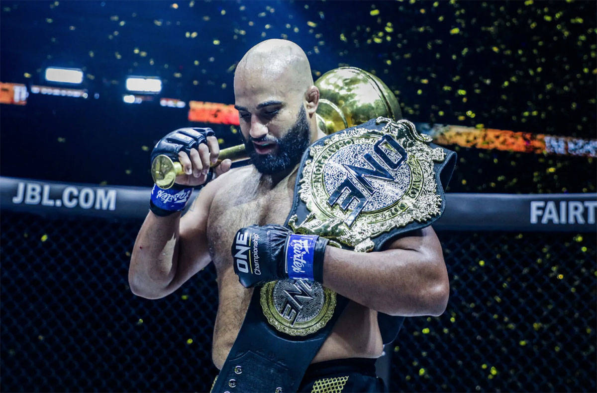 Former UFV Cascades wrestling coach Arjan Singh Bhullar is now the ONE heavyweight champion after defeating Brandon Vera via TKO in round two on Saturday in Singapore. (ONE Championship)