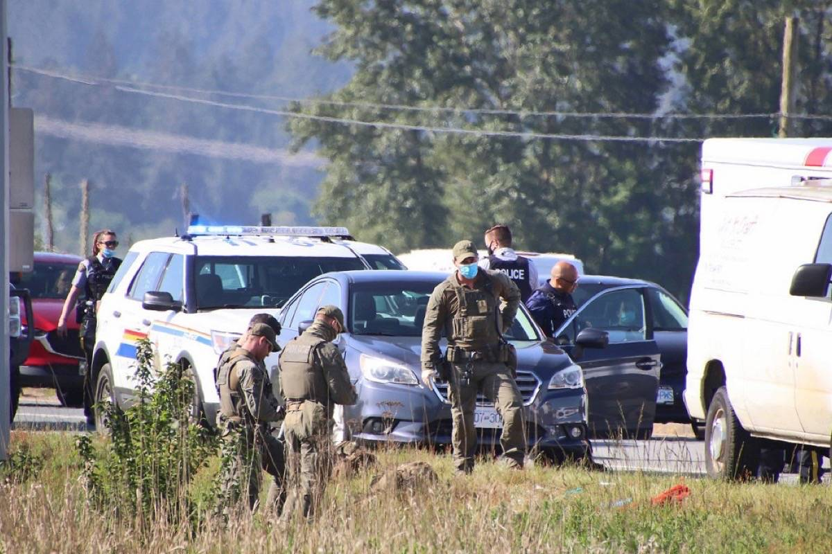 "Surrey RCMP in the 4900-block of 148th Street, a short road just off of King George Boulevard, on May 15, 2021 after a male was allegedly assaulted with a ""pipe-like"" weapon that morning. (Photo: Shane MacKichan)"
