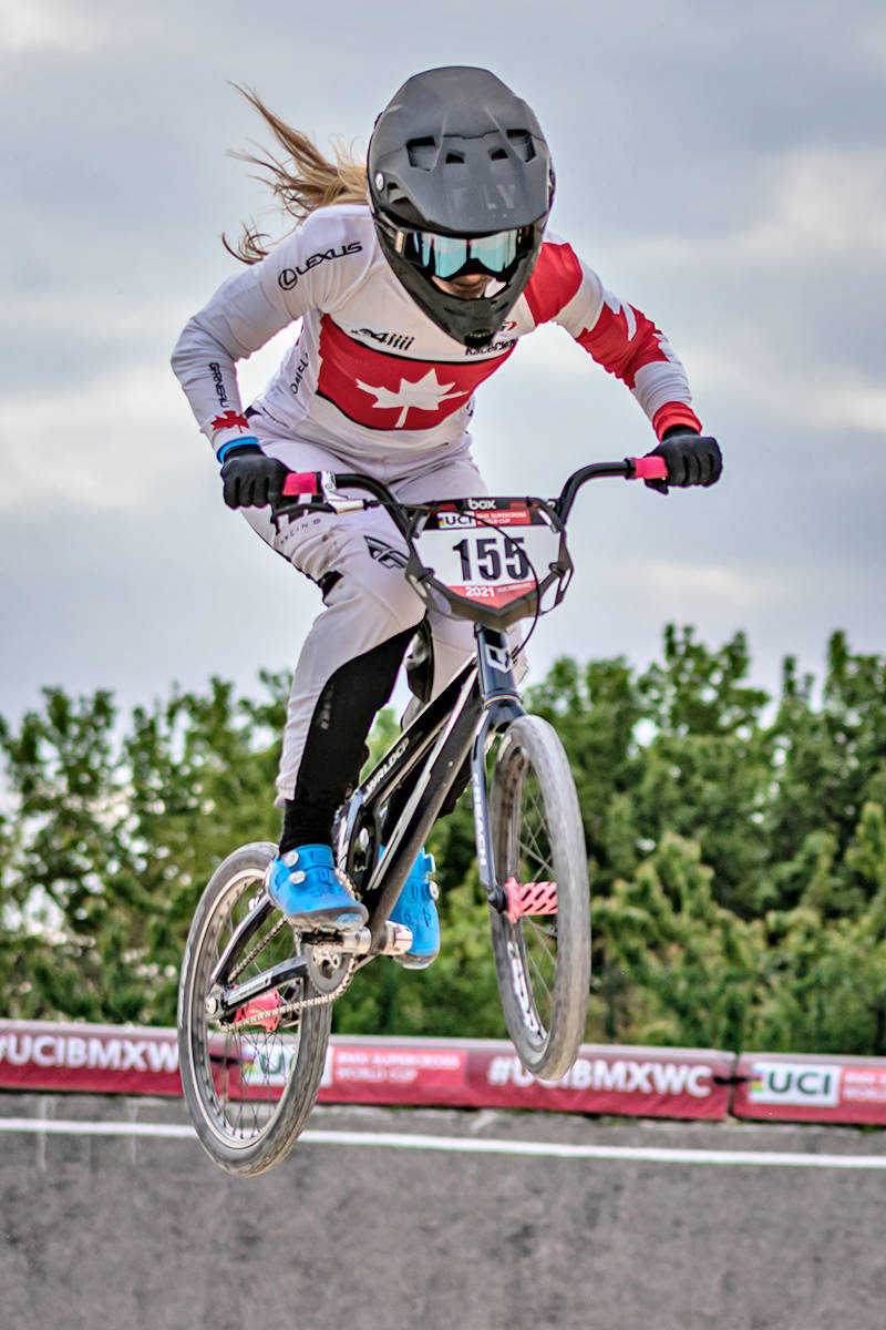Langley's Drew Mechielsen returned to the track with the resumption of international-level BMX racing in Verona, Italy on May 8 and 9, aiming to qualify for the Olympics (Nico van Dartel/special to Langley Advance Times)