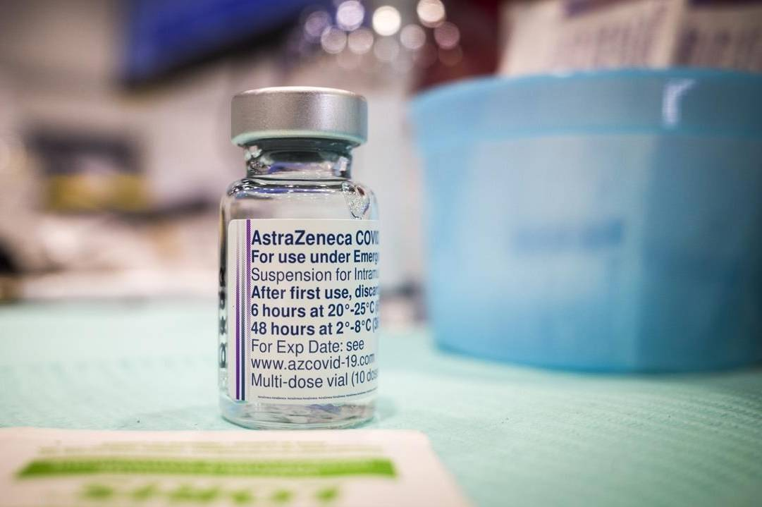 A vial of AstraZeneca vaccine is seen at a mass COVID-19 vaccination clinic in Calgary, Alta., Thursday, April 22, 2021. Dr. Ben Chan remembers hearing the preliminary reports back in March of blood clots appearing in a handful of European recipients of the Oxford-AstraZeneca COVID-19 vaccine. THE CANADIAN PRESS/Jeff McIntosh