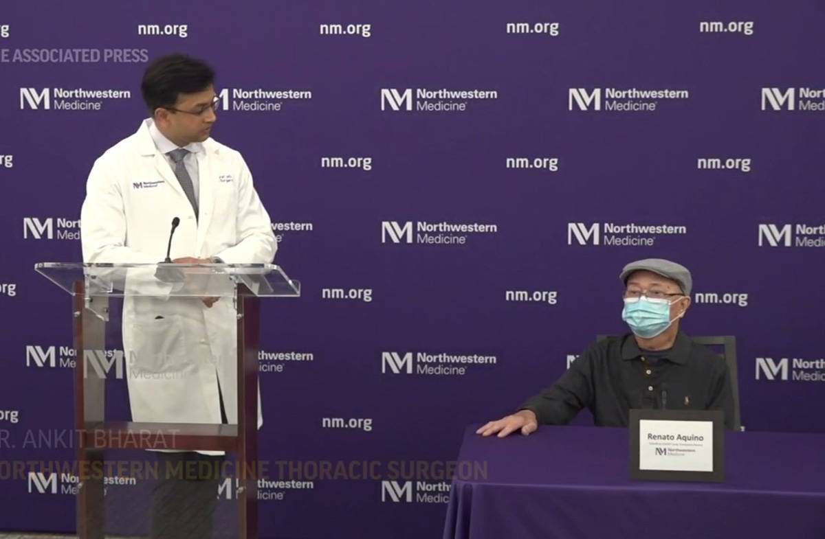 'COVID to COVID' lung transplant patient says he's grateful at a May 14, 2021, news conference in Chicago. (CP screenshot)