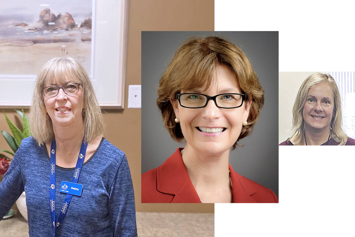 Langley Lodge CEO Debra Hauptman, B.C. seniors advocate Isobel Mackenzie and Shannon Woykin, Langley Meals on Wheels, took part in the recent seniors summit. (Photo composite)