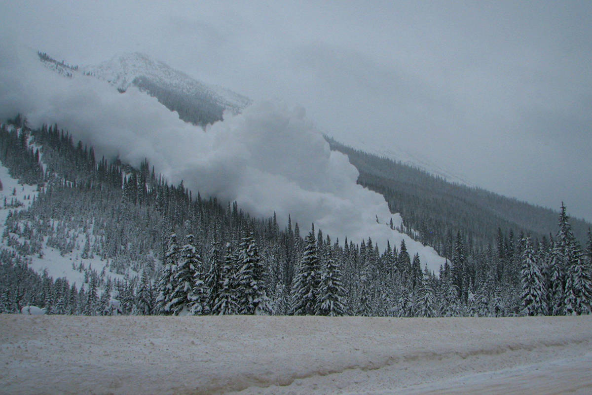 An avalanche near Highway 1 in Glacier National Park. Avalanche Canada will benefit from a $10 million grant from the B.C. government. (Photo by Parks Canada)