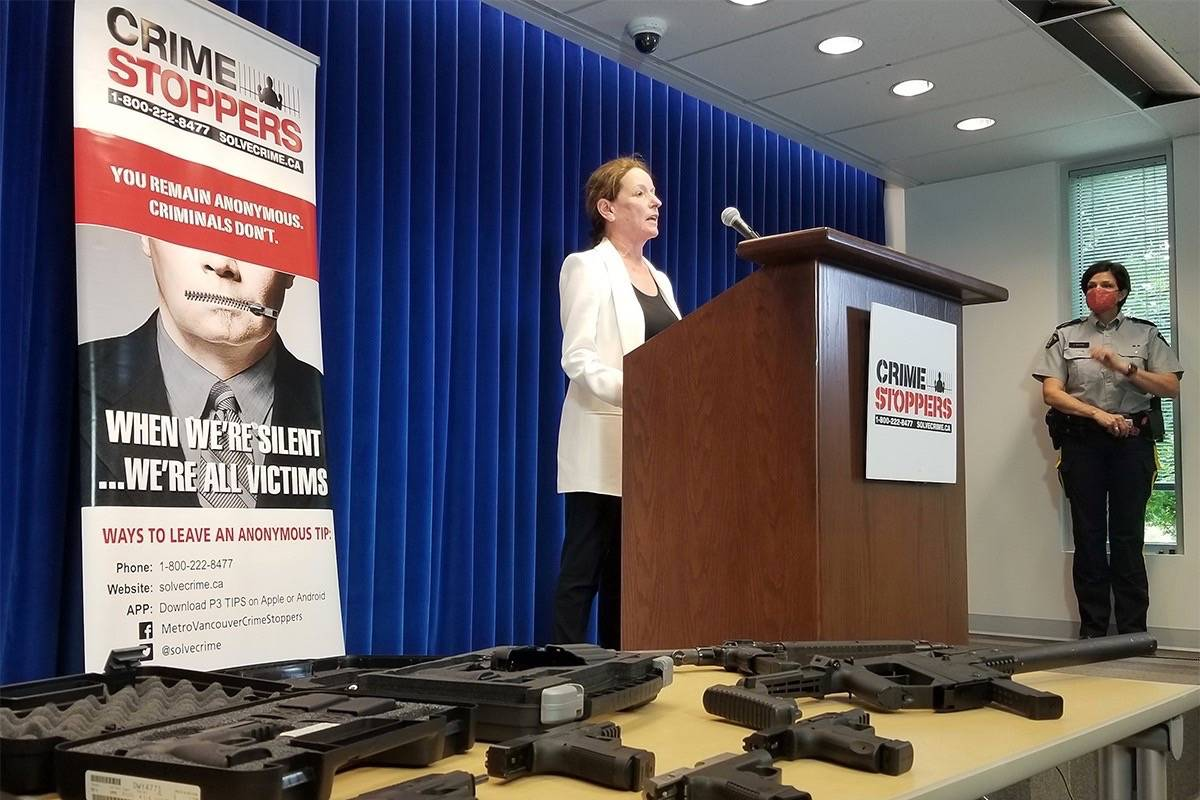 Linda Annis, executive director of Metro Vancouver Crime Stoppers, at press conference Monday. (Submitted photo)